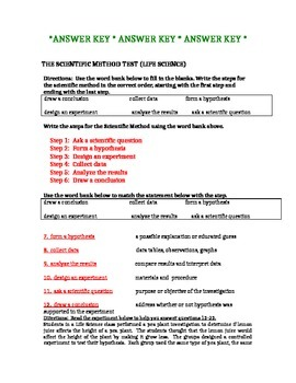 Scientific Method Test and Practice Test for Life Science
