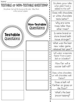 Scientific Method: Testable and Non-Testable Questions: Cut and Paste