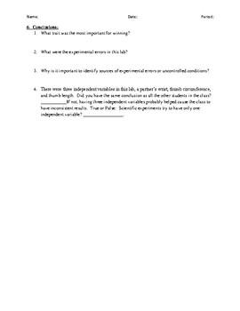 Scientific Method-Thumb War Experiment Activity Worksheet