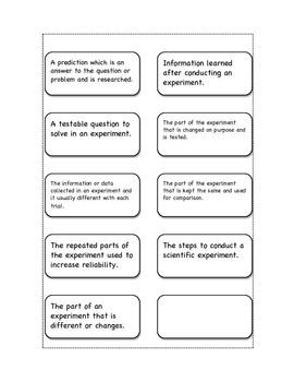 Scientific Method Vocabulary Cut and Paste with Quiz