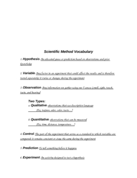 Scientific Method Vocabulary Notes and Answer Key