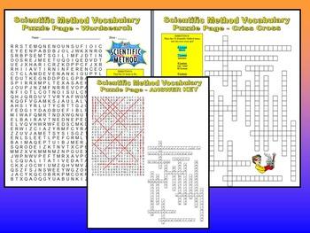 Scientific Method Vocabulary Quiz (Study Guide and Puzzles)