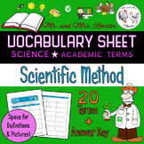 Scientific Method Vocabulary Sheet {Science, Biology, Chemistry}