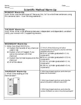 Scientific Method Warm Up 1