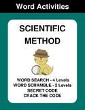 Scientific Method - Word Search, Word Scramble,  Secret Co