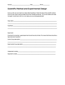 Scientific Method and Experimental Design quick practice sheet