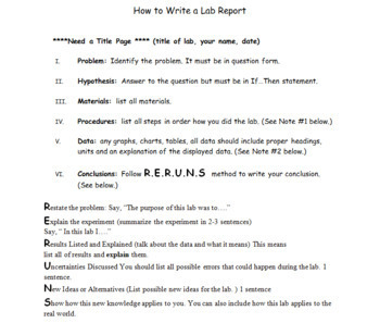 Introduction Lab and How to Write a Lab Report