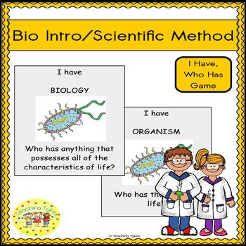 Scientific Method and Introduction to Biology I Have, Who Has Game FREEBIE