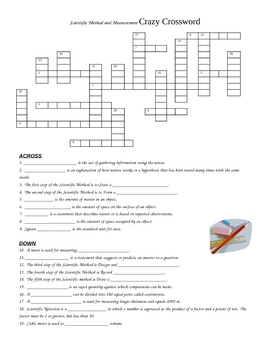 Scientific Method and Measurement Crossword Puzzle Review Worksheet