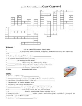 Scientific Method and Measurement Crossword Puzzle Review