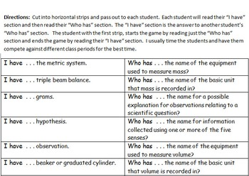 """Scientific Method and Process Skills Review Game - """"I have ..., Who has ...?"""""""