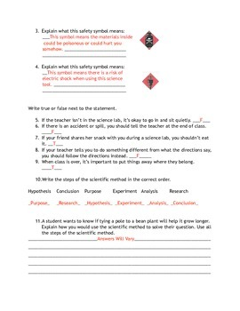 Scientific Method and Safety Tools Test