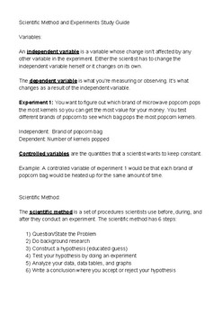 Scientific Method and Variables Study Guide
