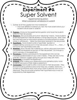 Scientific Method and Water- cohesion, solubility and heat transfer