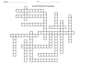 Scientific Method in Psychology Crossword