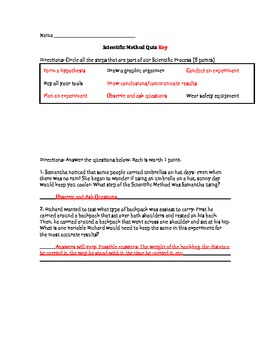 Scientific Method/Inquiry Quiz