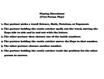 Scientific Notation Game 6th 7th 8th 9th Grade