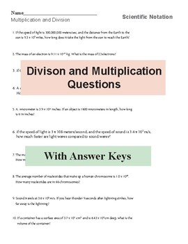 Scientific Notation Worksheets Science