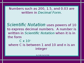 Scientific Notation and Operations with Scientific Notation