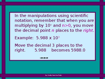 Algebra Power Point  Scientific Notation and Operations with Scientific Notation