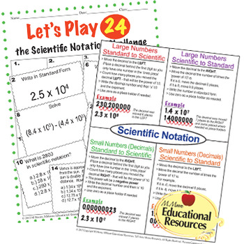 Scientific Notation - A Complete BUNDLE with Word Problems!!