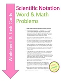 Scientific Notation - Add and Subtract Worksheet & Task Cards DIFFERENTIATED