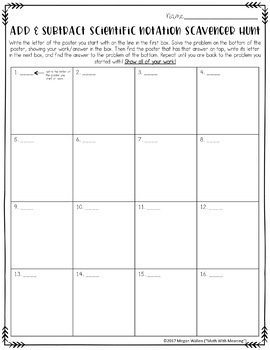 Scientific Notation Addition & Subtraction Scavenger Hunt - CCSS 8.EE.A.4