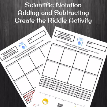 Scientific Notation Addition and Subtraction Create the Riddle Activity