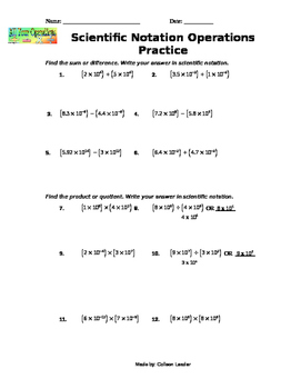 Scientific Notation All Operations Practice