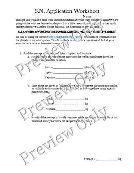 Scientific Notation Application Worksheet
