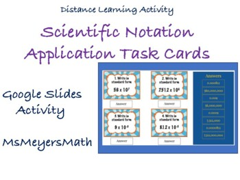 Scientific Notation Applications Task Cards 8.EE.3, 8.EE.4