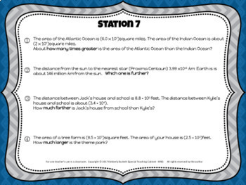 Scientific Notation Applied Word Problems Station Review