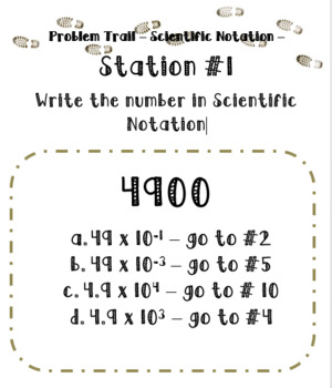 Scientific Notation Activity  -Problem Trail- Add Movement to Your Lesson!