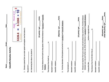 Scientific Notation Class Activity