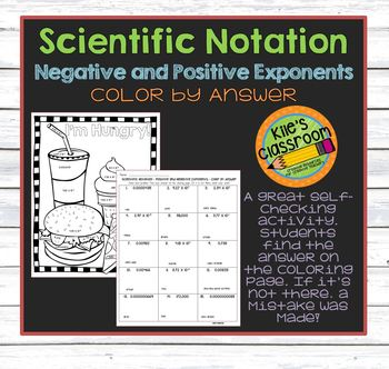 Scientific Notation Color By Answer - Negative and Positive Exponents