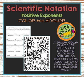 Scientific Notation Color By Answer - Positive Exponents