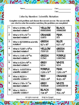 Scientific Notation Color by Numbers 8.2C