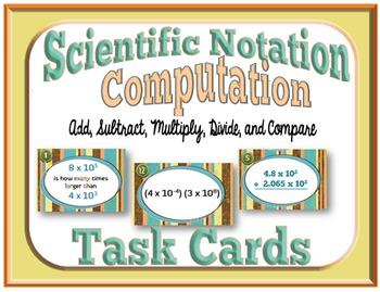 Scientific Notation Computation Task Cards + Free Storage Envelope