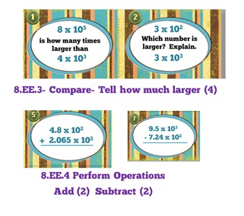 Scientific Notation Computation Task Cards + Free Storage Envelope