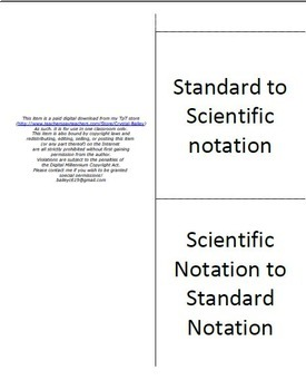 Scientific Notation Conversion Foldable for Interactive Notebook