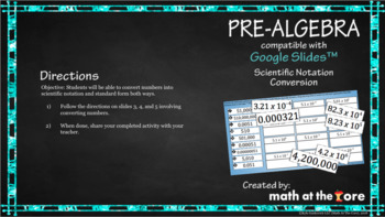 Scientific Notation Conversion - GOOGLE Slides