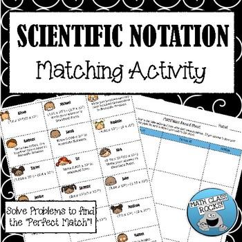 """SCIENTIFIC NOTATION - """"MATH MATCH"""" CUT & PASTE ACTIVITY"""