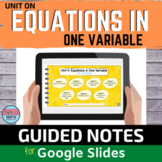 Equations in One Variable Digital Notebook with Video Lessons