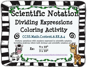 Scientific Notation - Divide Expressions - CCSS 8.EE.A.4