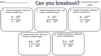 Scientific Notation (Division Problems) – Two Breakout Activities!