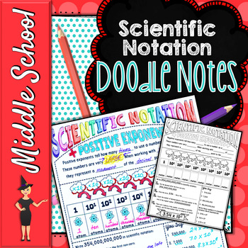 SCIENTIFIC NOTATION SCIENCE DOODLE NOTES, INTERACTIVE NOTEBOOK, ANCHOR CHART