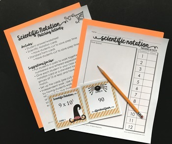 Scientific Notation Editable Matching Activity : 8.EE.3