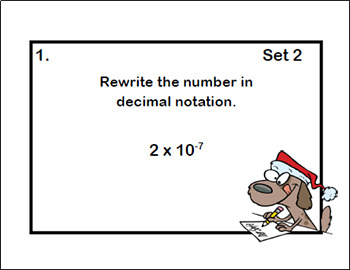 Scientific Notation-Exponents-Middle School - Four Skills-80 Task Cards-Holiday