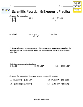 Scientific Notation & Exponents Practice