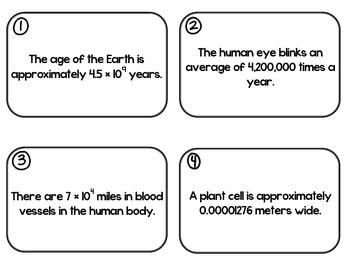 Scientific Notation Facts - Around the World Activity